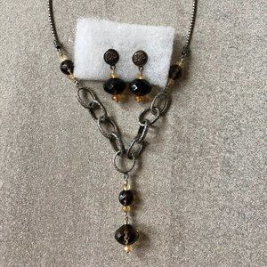 Smokey Quartz sterling necklace/earring set